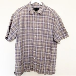 Men's Eddie Bauer Short Sleeve Plaid Shirt Large